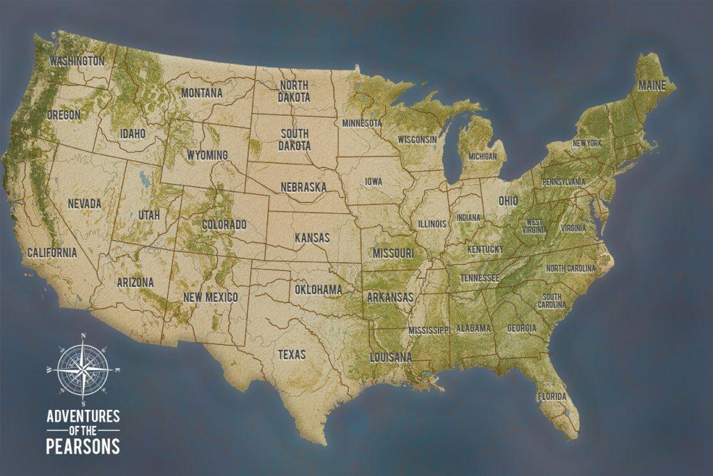 Grey Custom Push Pin USA Travel Map Canvas