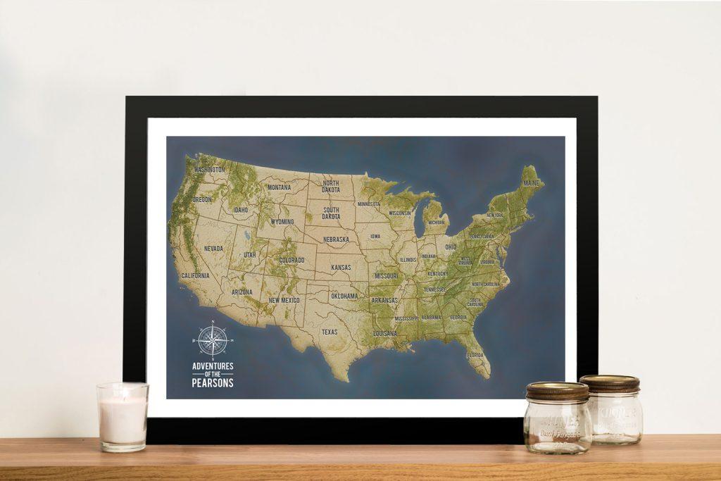 Charcoal USA Map Framed Wall Art