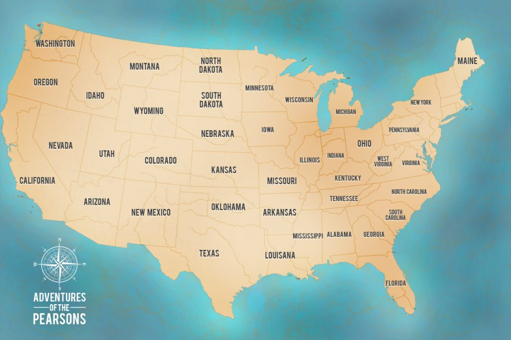 Green Custom USA Map Art Pinboard