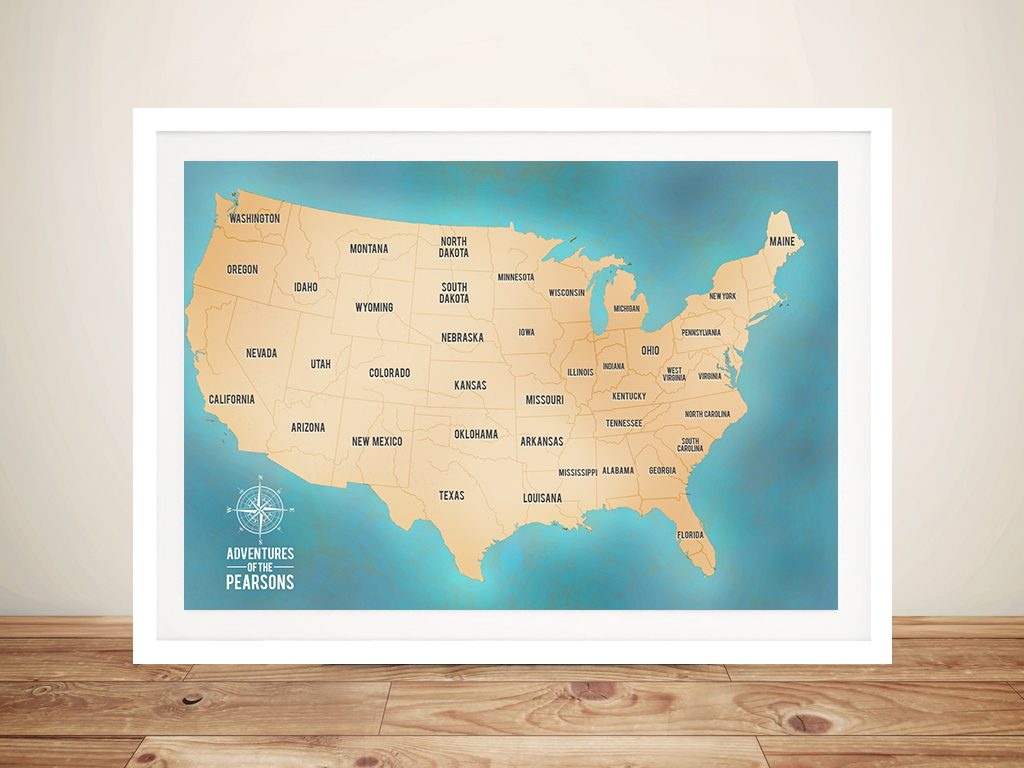 Teal Customisable Push Pin USA Travel Map