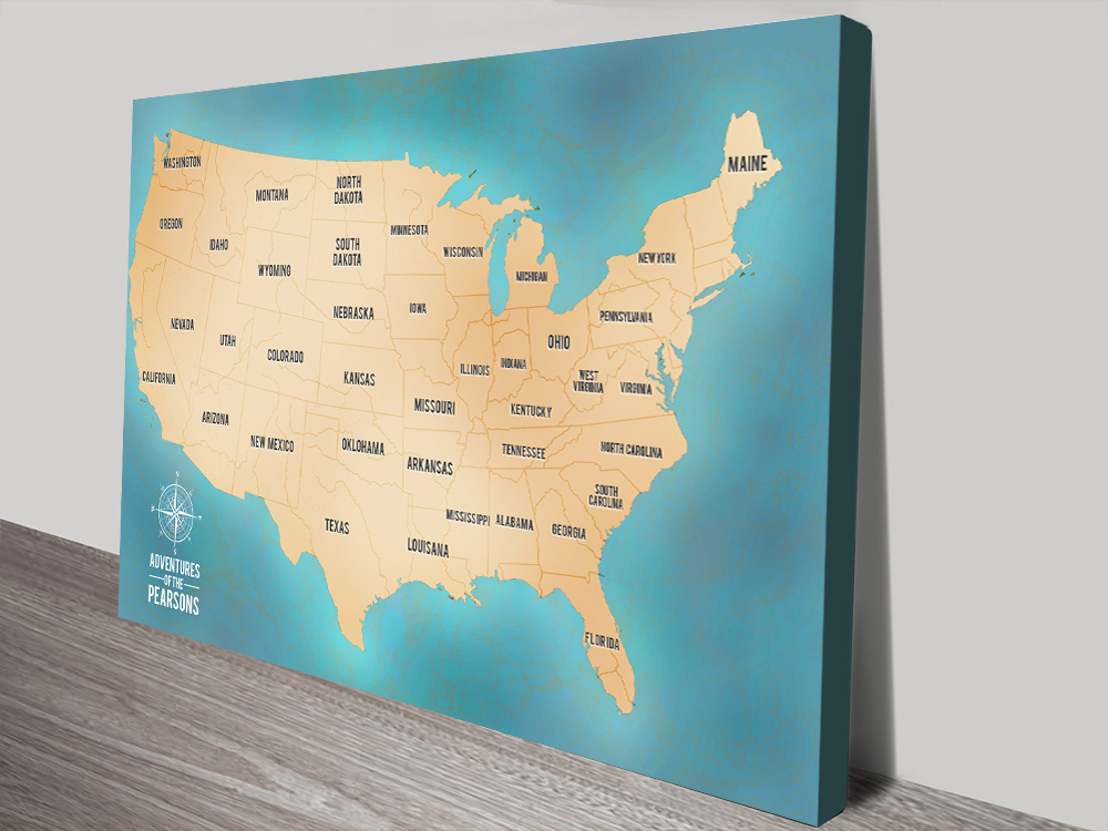 Teal Custom Push Pin USA Travel Map Canvas