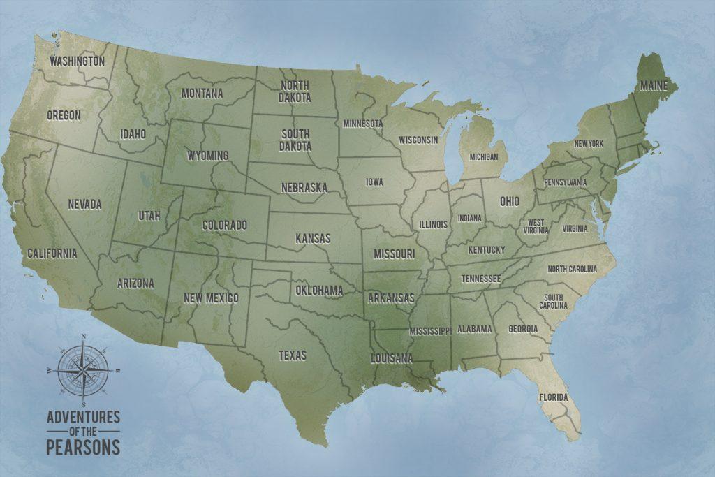 Cyan Custom Push Pinboard USA Travel Map Artwork