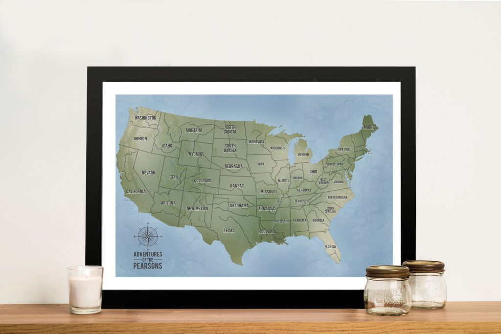 Cyan Custom Push Pinboard USA Travel Map Wall Picture Art