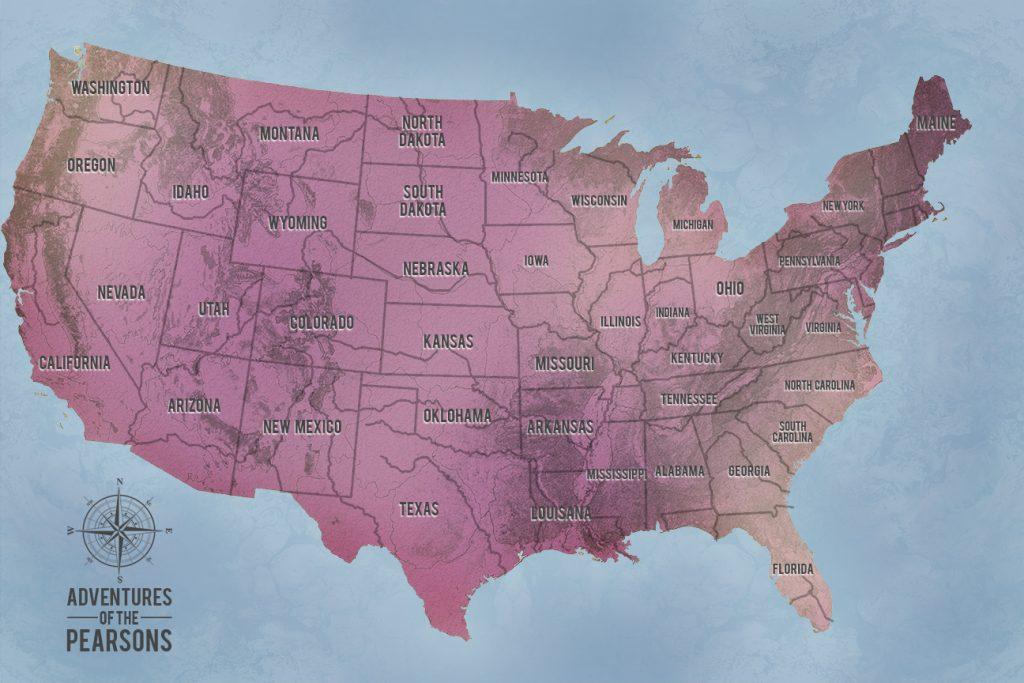 America Magenta Custom Push Pin Travel Map Art