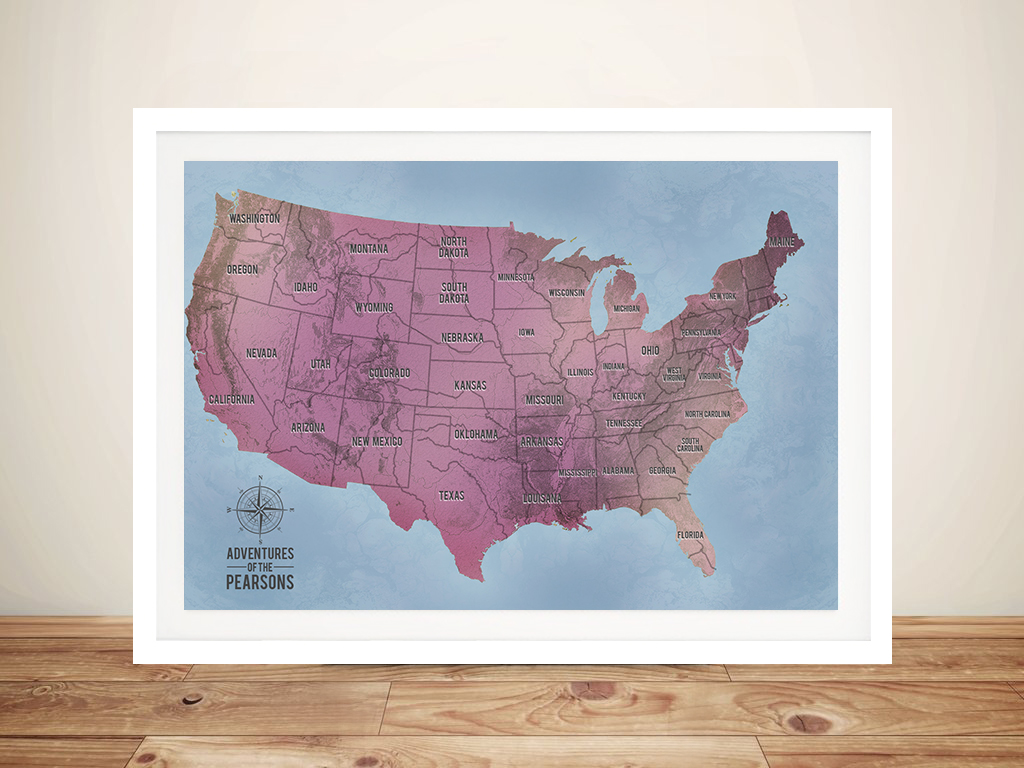 Magenta Customisable Push Pin USA Travel Map Wall Picture