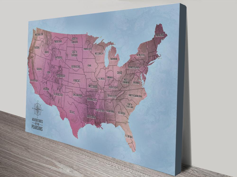 America Magenta Customisable Push Pin Travel Map