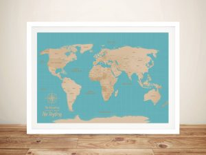 Turquoise Blue Sands Push Pin Travel Map