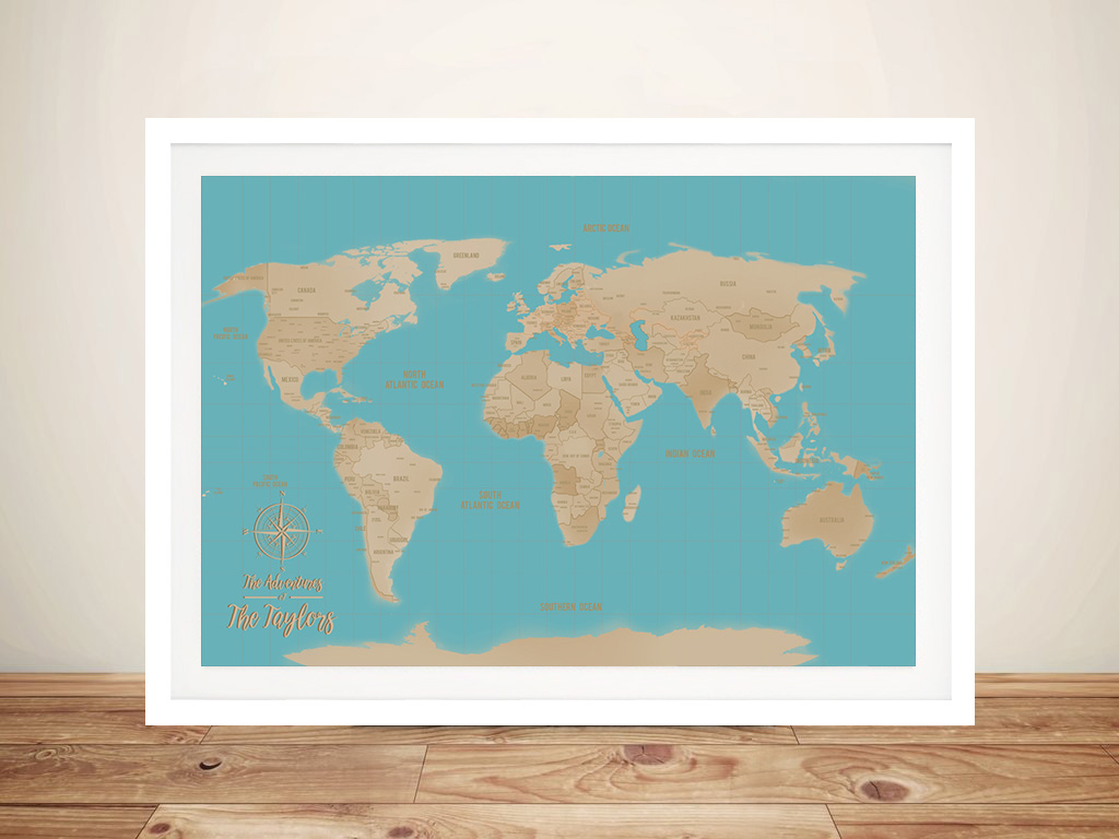 Turquoise Blue Sands Push Pin Travel Map | Turquoise  Sands Push Pin Travel Map