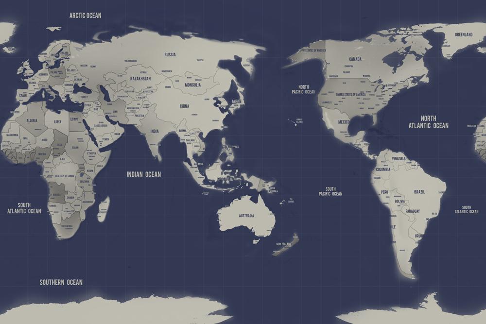 Australia In World Map.Australia Centric Navy Silver World Map