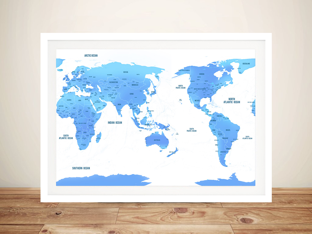 Australia / Pacific Centred Sky Blue Push Pin Travel Map | Australia / Pacific Centred Sky Blue Push Pin
