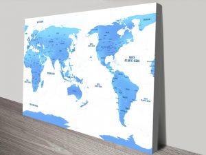 Australia Centric Sky Blue World Map Canvas Print