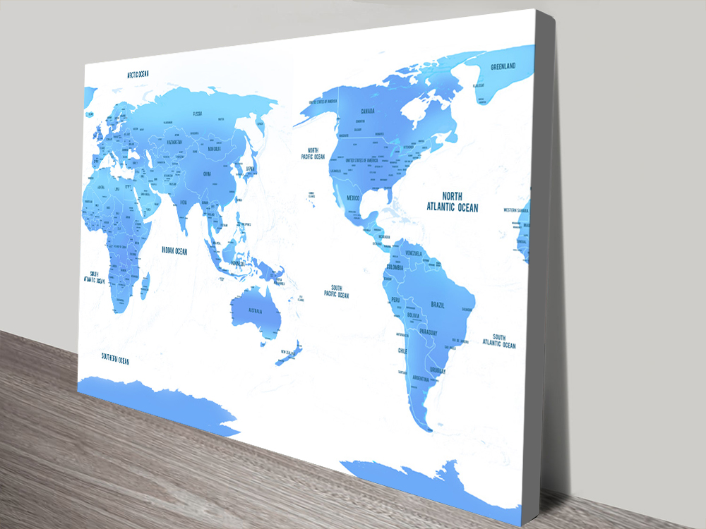 Australia Centric Sky Blue World Map Canvas Print