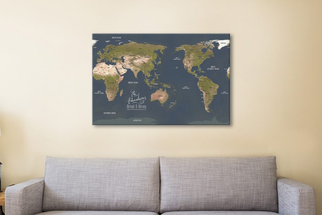 Charcoal Central Pacific travel Map Canvas Artwork