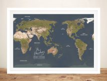 Personalised Australia-Centric Grey Push Pin Map