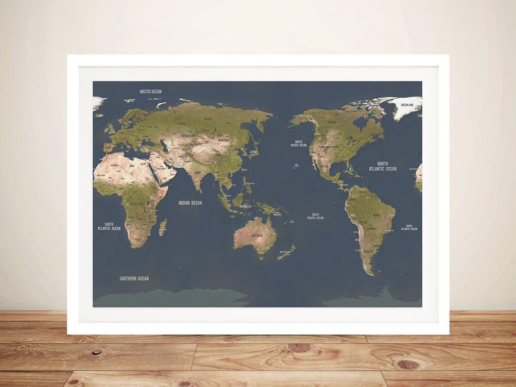 Personalised Australia-Centric Grey Push Pin Map