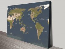 Charcoal Central Pacific Map canvas print