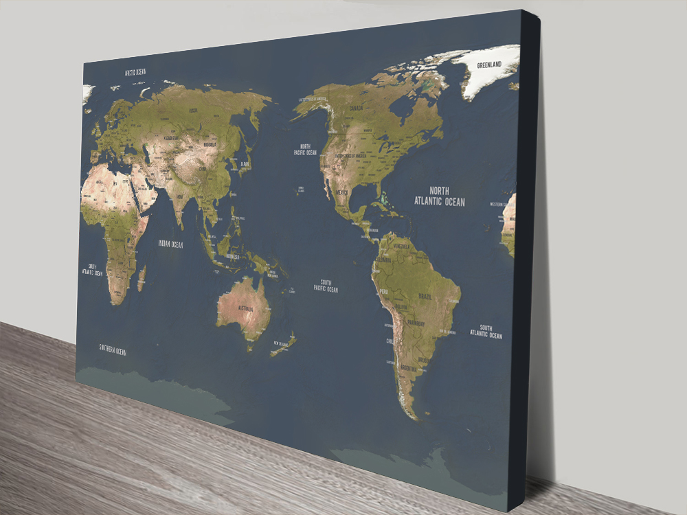 Charcoal Central Pacific Map canvas print | Australia-Centric Grey Push Pin Map