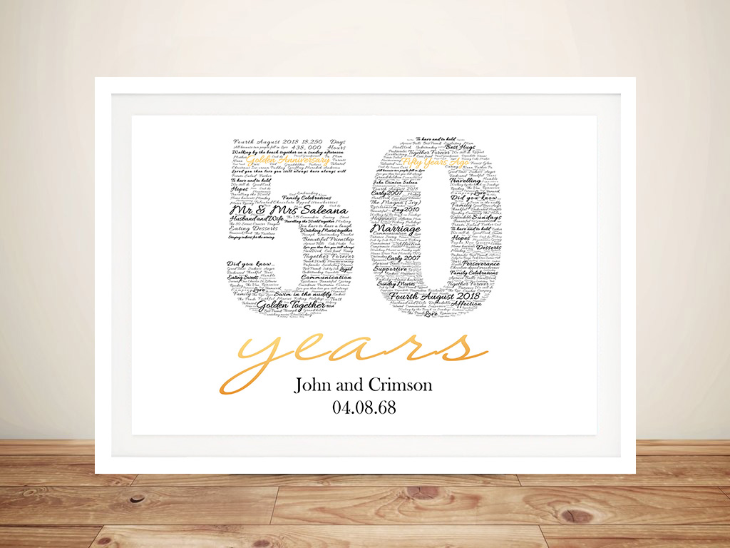 Custom Gold Wedding Framed Wall Art | 50th Gold Anniversary Art