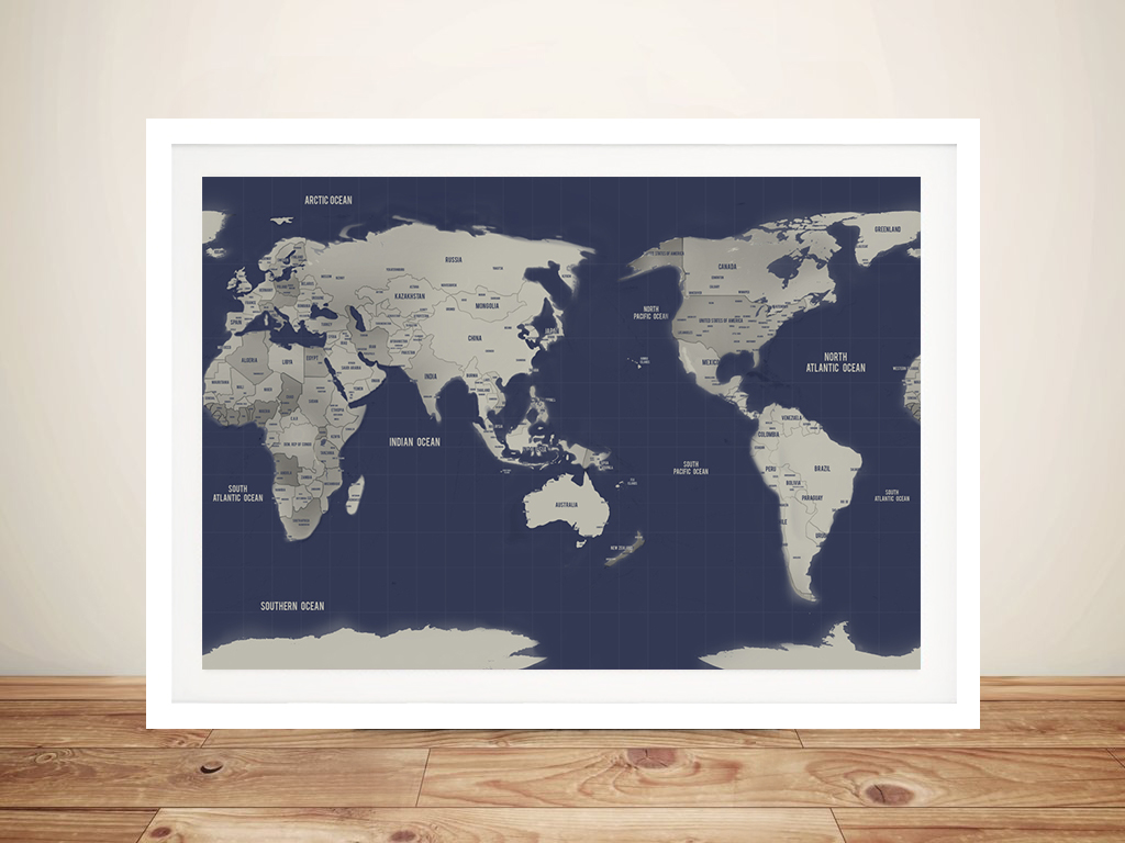 Australia Pacific Centred Navy Silver Push Pin World Map