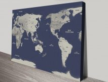 Navy Blue Australia Central Pacific Map canvas Print