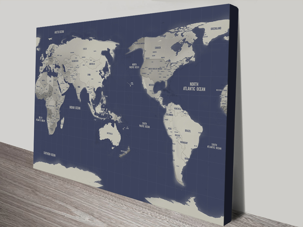 Navy Blue Australia Central Pacific Map canvas Print | Australia-Centric Navy & Silver World Map