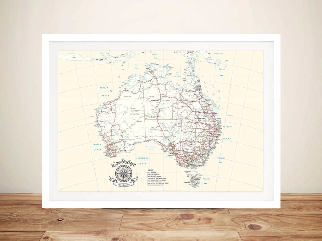 Australia Rectangle Cream Push Pin Map | Australia Rectangle Cream Push Pin Map