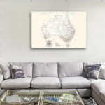 Custom-Australia-Cream-Push-Pin-Map-Canvas-Cork-Board-Art