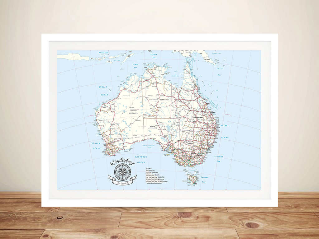 Australia Light-Blue Push Pinboard Map Wall Art | Australia Light-Blue Push Pinboard Map