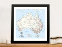 Custom Australia Detailed Light Blue Square Push Pin Map