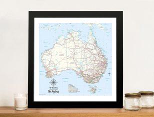 Custom Australia Detailed Light Blue Square Push Pin Map