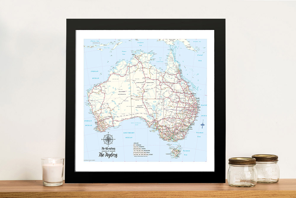 Custom Australia Detailed Light Blue Square Push Pin Map | Australia Detailed Light Blue Square Map