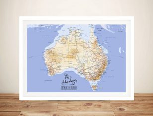 Australia Atlas Push Pin Travel Map Canvas Board Wall Art