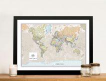 Pathfinder World Map Framed Wall Art