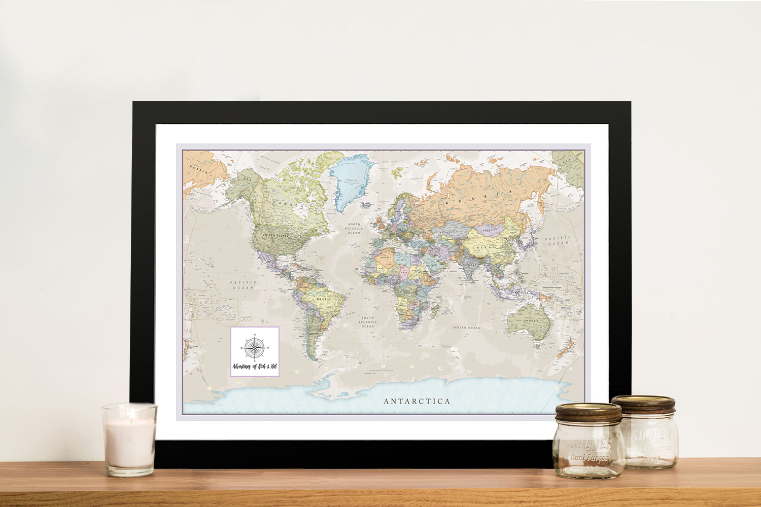 Pathfinder World Map Framed Wall Art | Pathfinder Push Pin Travel Map