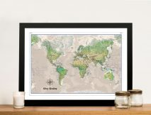 Custom Poseidon Push Pin World Map Framed Wall Art