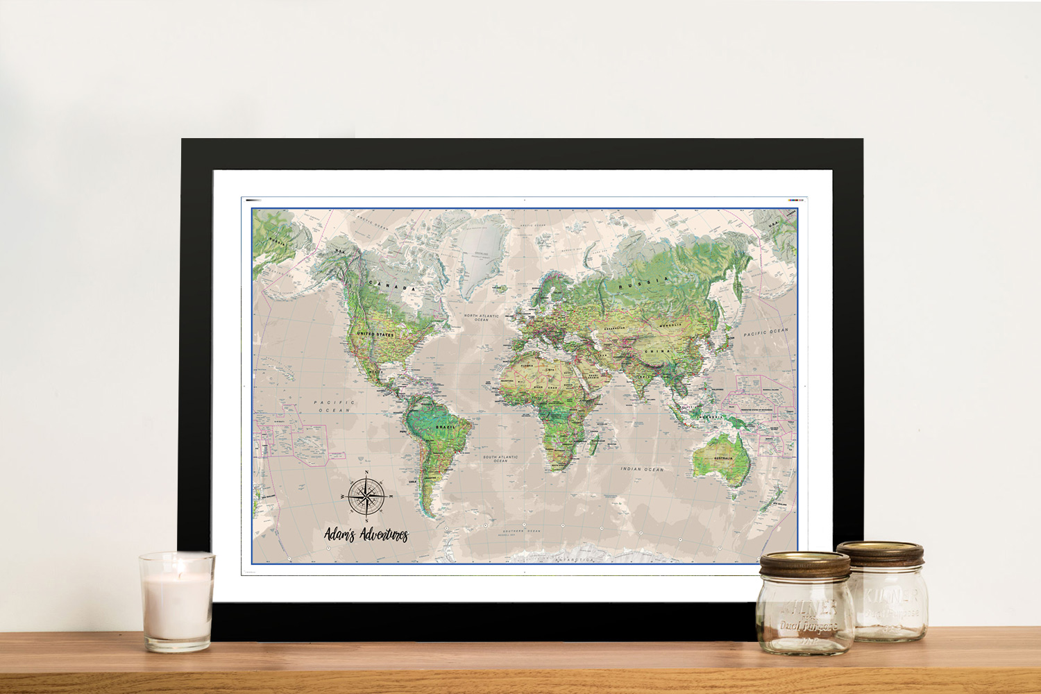 Custom Poseidon Push Pin World Map Framed Wall Art | Poseidon Push Pin Travel Map