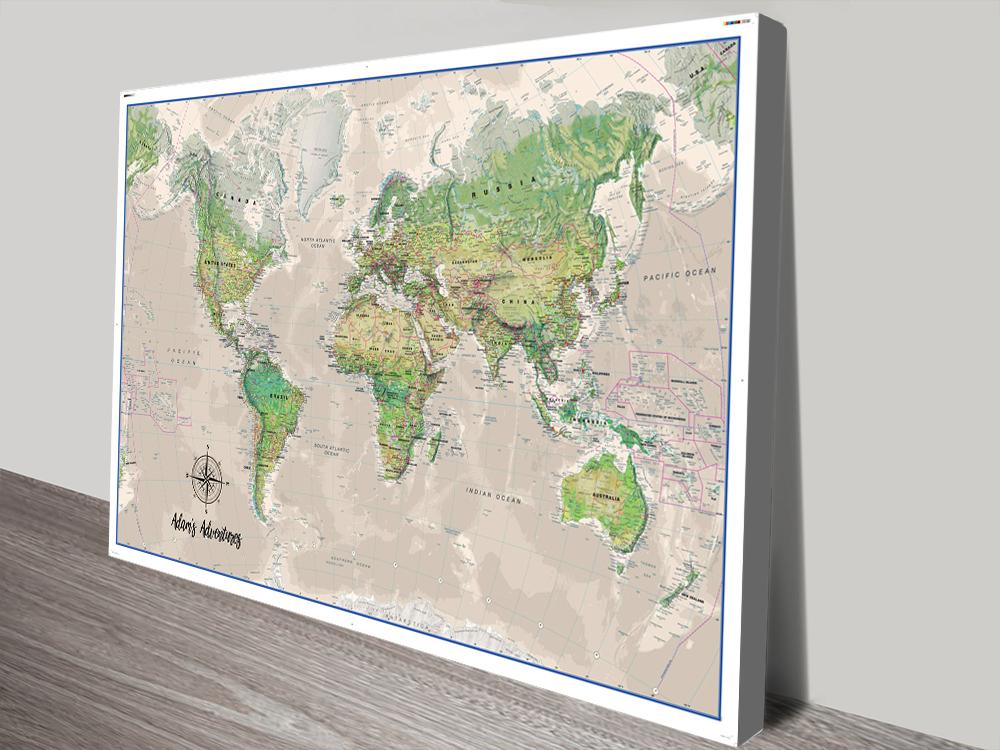 Personalised Poseidon Pushpin Travel World Map Canvas Board
