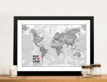 Atlantas Push Pin World Map Framed Wall Art