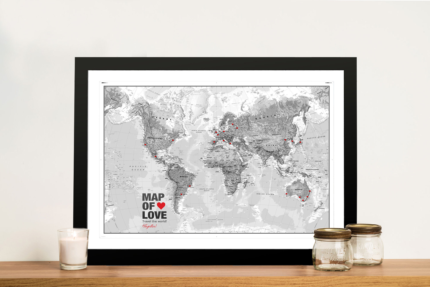 Black And White World Map Framed.Buy Atlantas Push Pin World Map Framed Wall Art Au