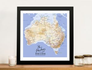 Australia Topographical Custom Framed Wall Art