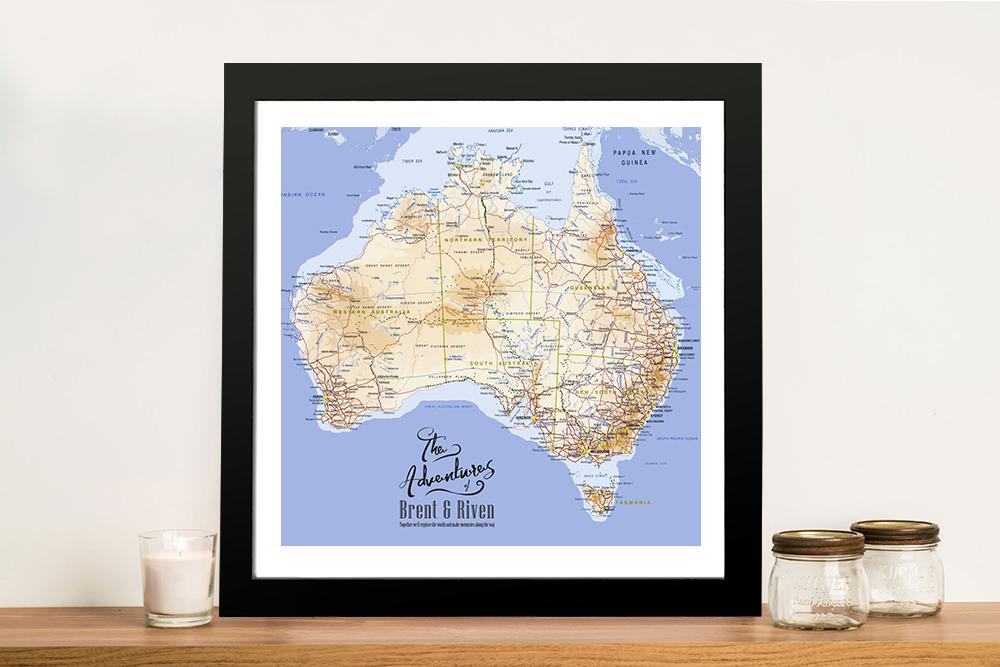 Australia Topographical Custom Framed Wall Art | Australia Detailed Mid Blue Square Map