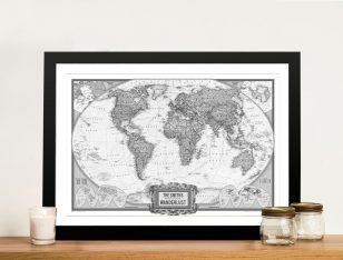 Wanderlust Black & White Push Pin Map Art