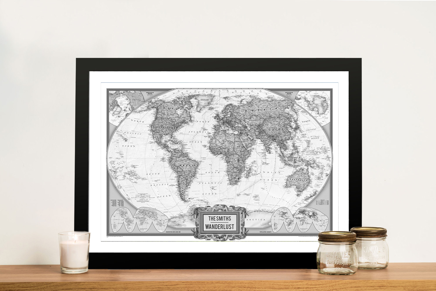 Wanderlust Black & White Push Pin Map Art | Wanderlust Push Pin World Map