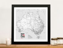Personalised Australia Black and White Map with Push Pins
