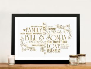Personalised Golden Wedding Anniversary Word Art