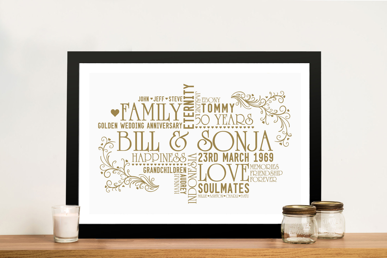 Personalised Golden Wedding Anniversary Word Art | Personalised Golden Wedding Anniversary Art