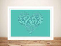 Personalised Wedding Vowels Heart Shape Word Art Gift