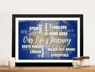 Personalised Blue Australia Push Pin Map with Words
