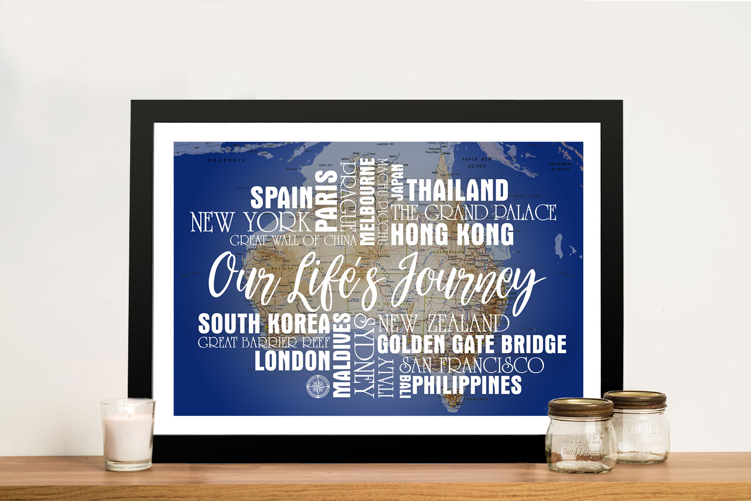 Personalised Blue Australia Push Pin Map with Words | Blue Australia Push Pin Map with Words