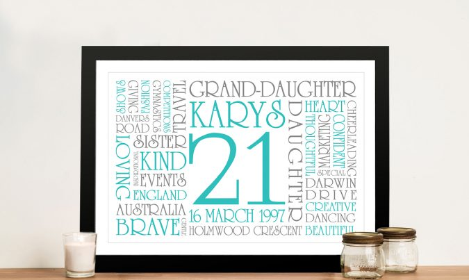 21st Birthday Personalised Wall Art